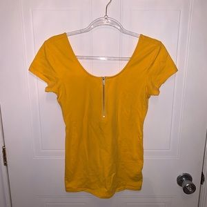 Guess Mustard Yellow Scoop Neck Top